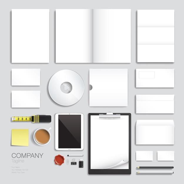 Set di progettazione di modelli vettoriali di identità di marca aziendale Vettore Premium