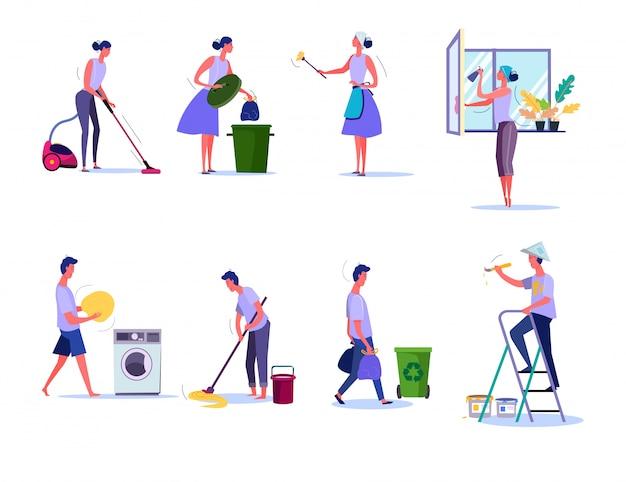 Set di pulizia e pulizie Vettore gratuito
