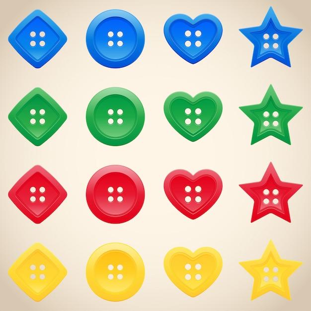 Set di pulsanti in diversi colori Vettore Premium