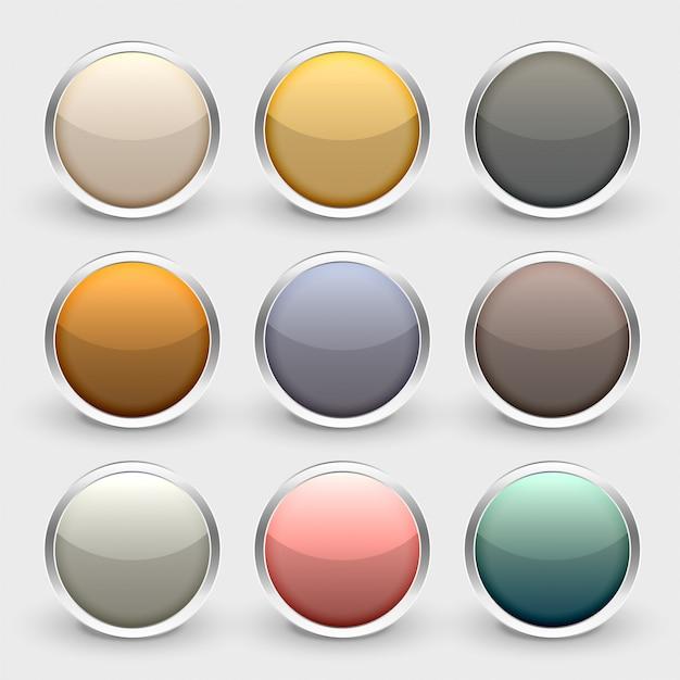 Set di pulsanti lucidi metallici lucidi Vettore gratuito