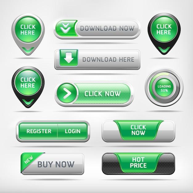 Set di pulsanti verde lucido web elementi Vettore Premium