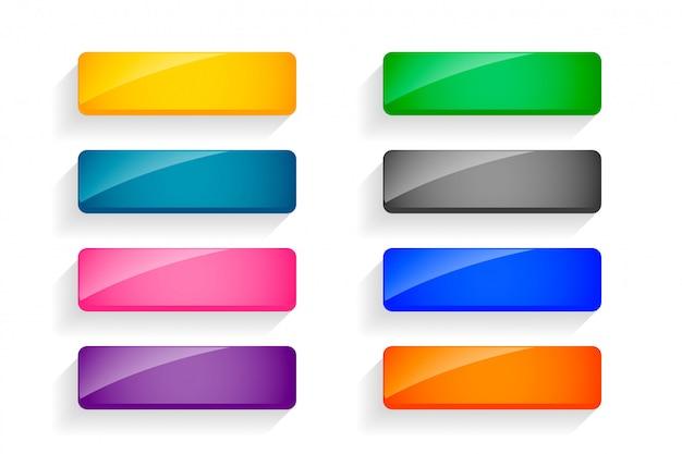 Set di pulsanti vuoti lucidi colorati di otto Vettore gratuito