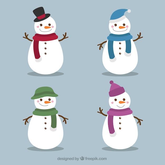 Set di pupazzi di neve divertenti con sciarpa e cappello Vettore gratuito