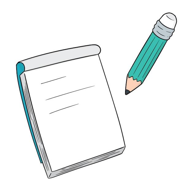 Set di quaderno e matita Vettore Premium