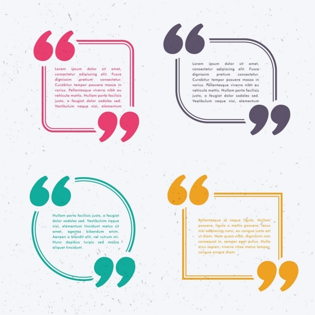 Set di quattro bolla di chat in diversi colori e forme Vettore gratuito