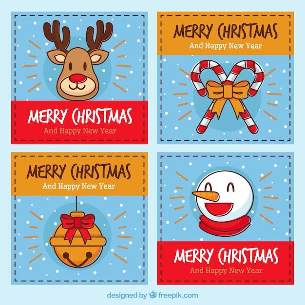 Biglietti Di Natale Divertenti.Set Di Quattro Cartoline Di Natale Divertenti Scaricare Vettori Gratis