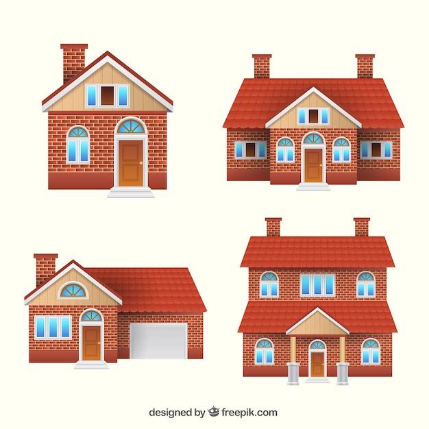 Set di quattro case di mattoni Vettore gratuito