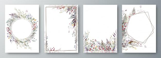 Set di quattro invito o cartolina d'auguri di design decorato Vettore Premium