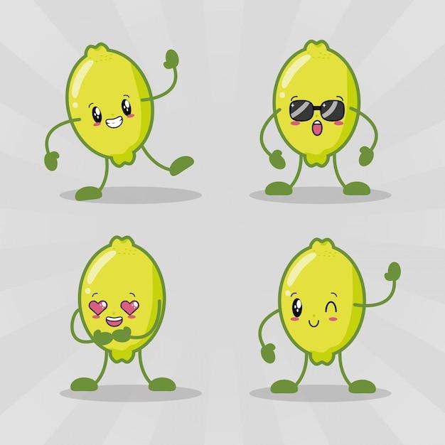 Set di quattro limoni kawaii con espressioni diverse Vettore gratuito