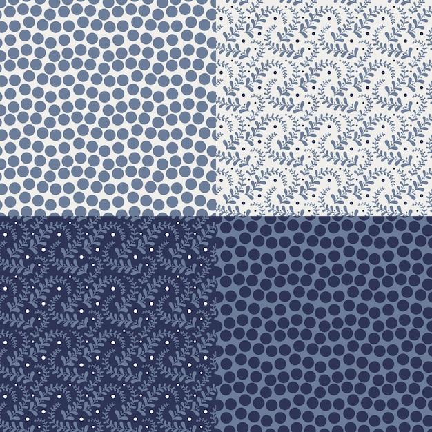 Set di quattro motivi floreali colorati (piastrellatura senza soluzione di continuità). Vettore Premium