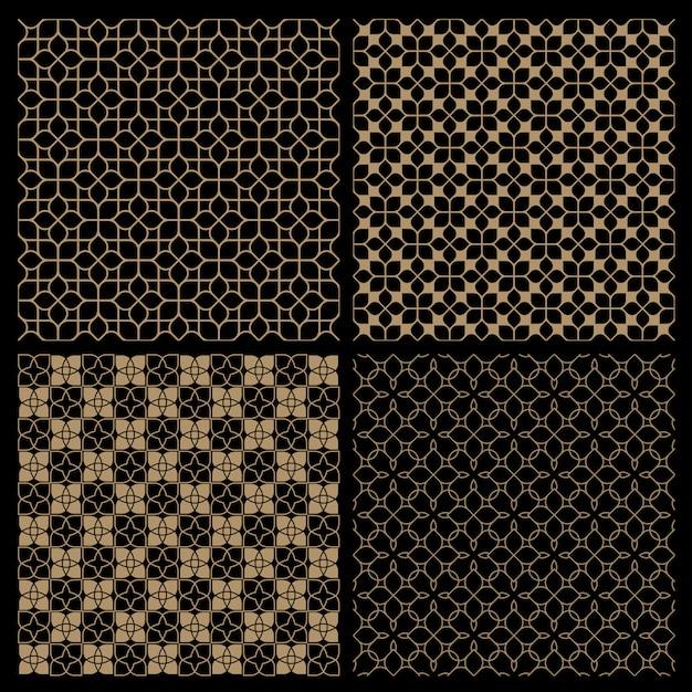 Set di quattro motivi floreali senza soluzione di continuità scuri in stile orientale Vettore Premium