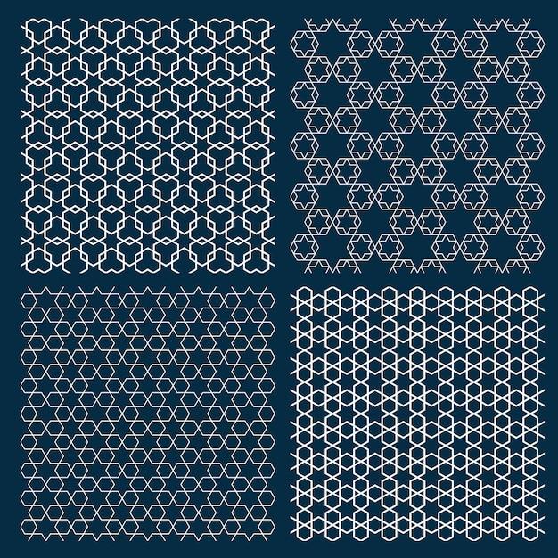 Set di quattro motivi geometrici arabi con stelle Vettore Premium