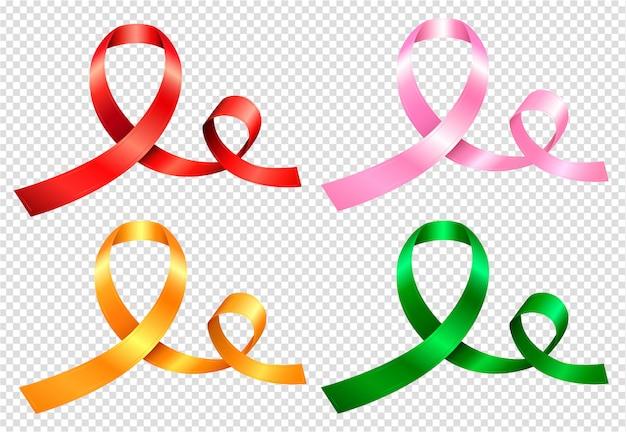 Set di quattro nastri colorati nei colori rosso, rosa, giallo e verde Vettore Premium