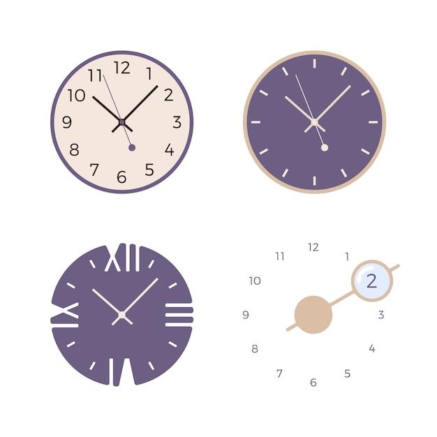 Set di quattro orologi da parete retrò Vettore Premium