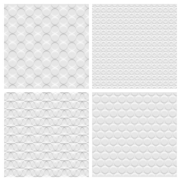 Set di quattro seamless pattern di sfondo bianco con cerchi Vettore Premium
