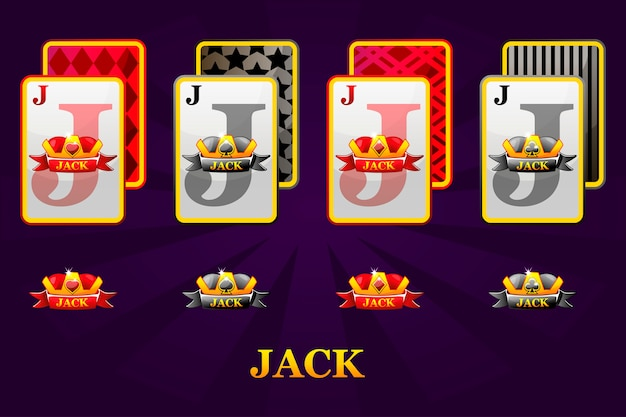 Set di quattro semi di carte da gioco jacks per poker e casinò. set di cuori, picche, fiori e quadri jack. Vettore Premium