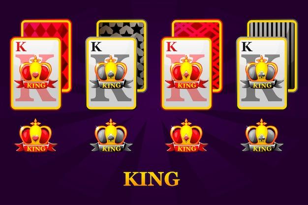 Set di quattro semi di carte da gioco per poker e casinò. set di cuori, picche, fiori e quadri king. Vettore Premium