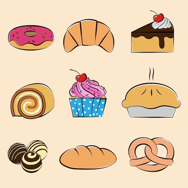 Set di raccolta di dolci e dessert, stile disegnato a mano Vettore Premium