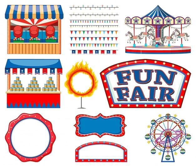 Set di raccolta di oggetti da circo Vettore gratuito