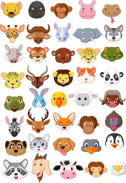 Set di raccolta di testa di animale dei cartoni animati Vettore Premium