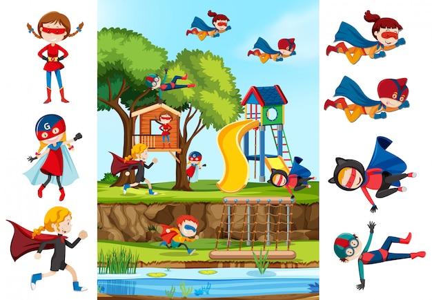 Set di ragazza supereroe e sfondo playgrounf Vettore gratuito
