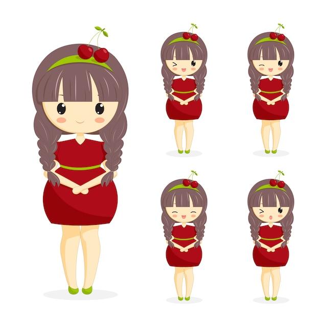 Set di ragazze kawaii carino in abito di ciliegio con decorazione nei capelli isolato su sfondo bianco. personaggio donna tema berry per panetteria, caffetteria, banner dessert, flyer, sito web. illustrazione vettoriale Vettore Premium