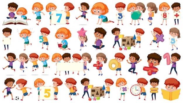 Set di ragazzi di matematica Vettore Premium