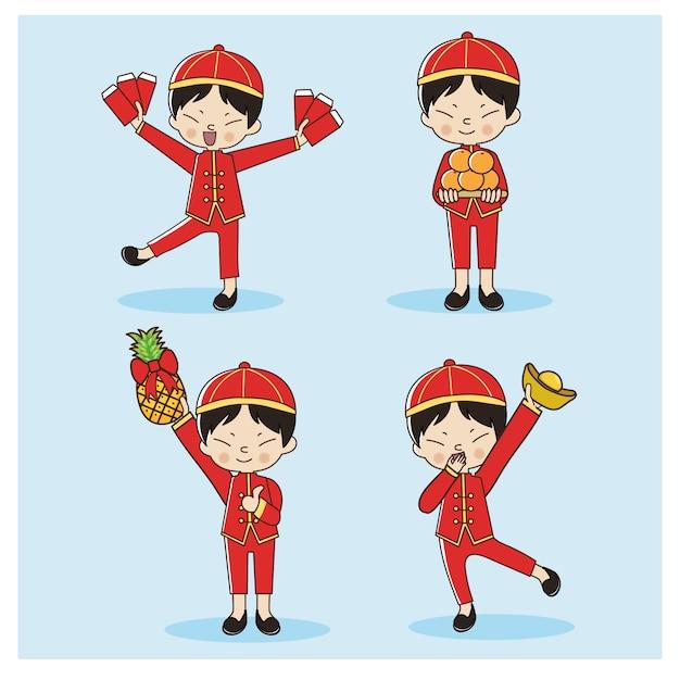 Set di ragazzo carino cinese in abito tradizionale cinese. buon capodanno cinese. Vettore Premium