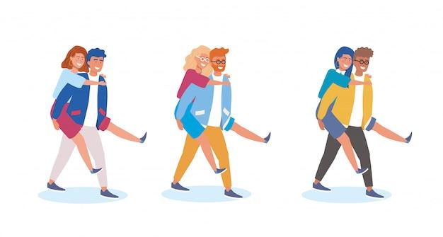 Set di ragazzo che porta la ragazza nella parte posteriore Vettore gratuito