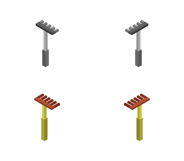 Set di rastrelli isometrici Vettore Premium