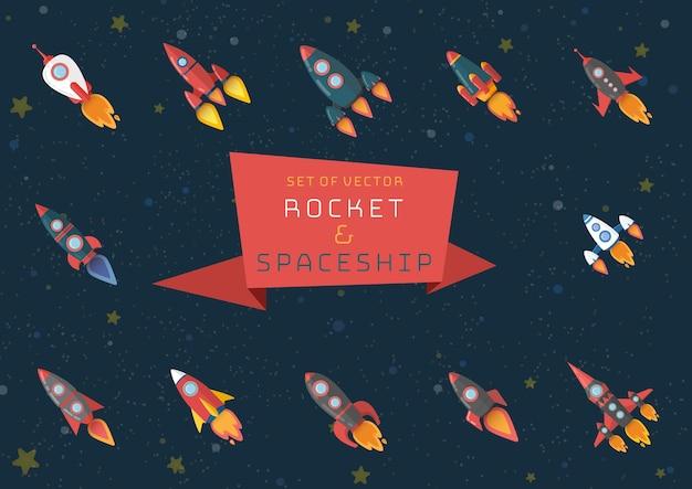 Set di razzo spaziale e navetta spaziale. Vettore Premium
