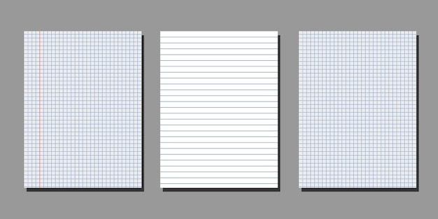 Set di realistici fogli bianchi di carta quadrata e foderata Vettore Premium