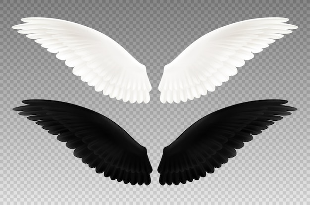 Set di realistico bianco e nero paio di ali su trasparente come simbolo del bene e del male isolato Vettore gratuito