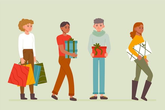 Set di regali di natale d'acquisto della gente Vettore gratuito