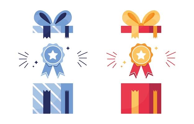 Set di regali e premi. premio in una scatola aperta. icona del primo posto, vittoria. medaglia con nastro. stella sulla ricompensa. risultati per giochi, sport. blu e rosso Vettore Premium