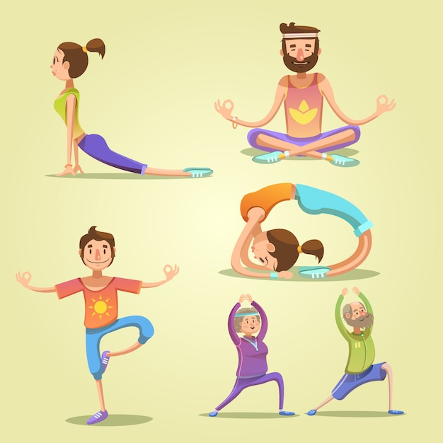 Set di retrò dei cartoni animati di yoga Vettore gratuito