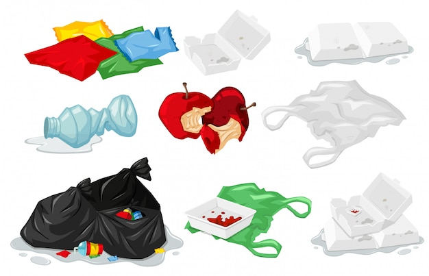 Set di rifiuti di plastica Vettore gratuito