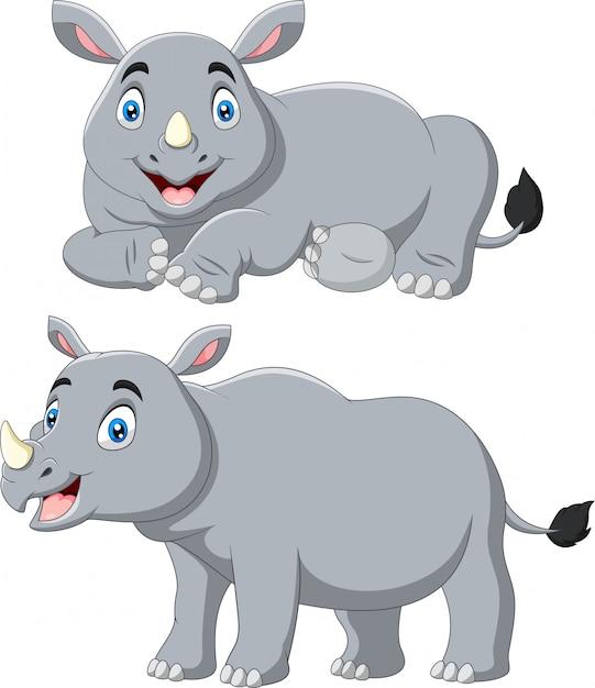Set di rinoceronte simpatico cartone animato Vettore Premium
