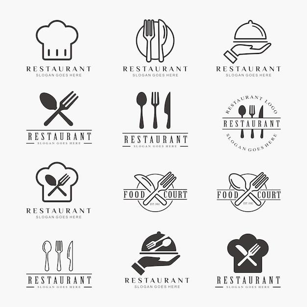 Set di ristorante, cibo, modello logo caffè Vettore Premium