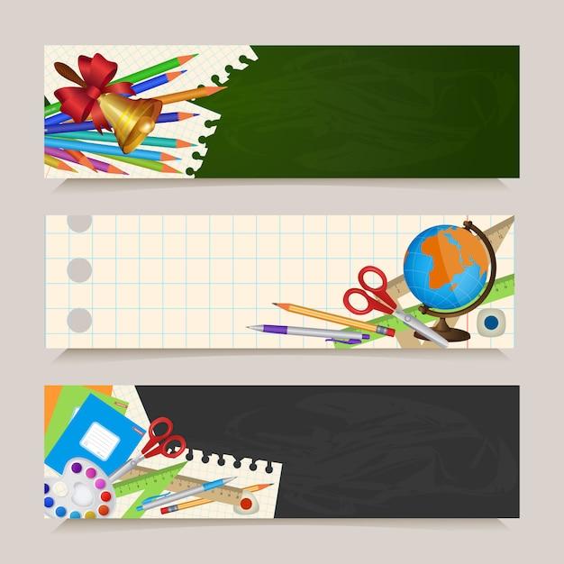 Set di ritorno a banner scolastici con oggetti per studenti Vettore Premium