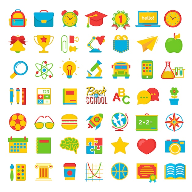 Set di ritorno a scuola e istruzione colot icone piane materiale scolastico Vettore Premium