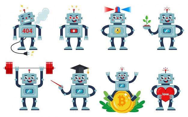 Set di robot che lavora su uno sfondo bianco Vettore Premium