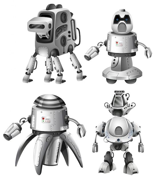 Set di robot futuristici su bianco Vettore gratuito