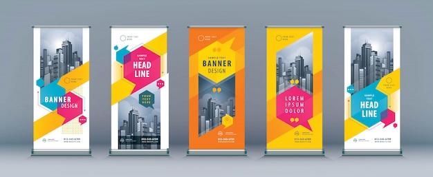 Set di rollup aziendali, modello xbanner standee Vettore Premium