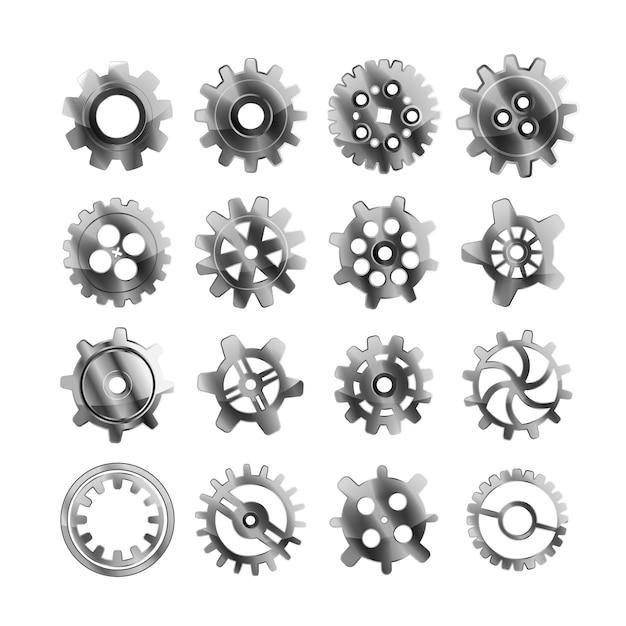 Set di ruote dentate realistiche in metallo lucido su bianco Vettore Premium