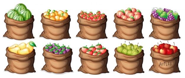 Set di sacchetti di frutta Vettore gratuito
