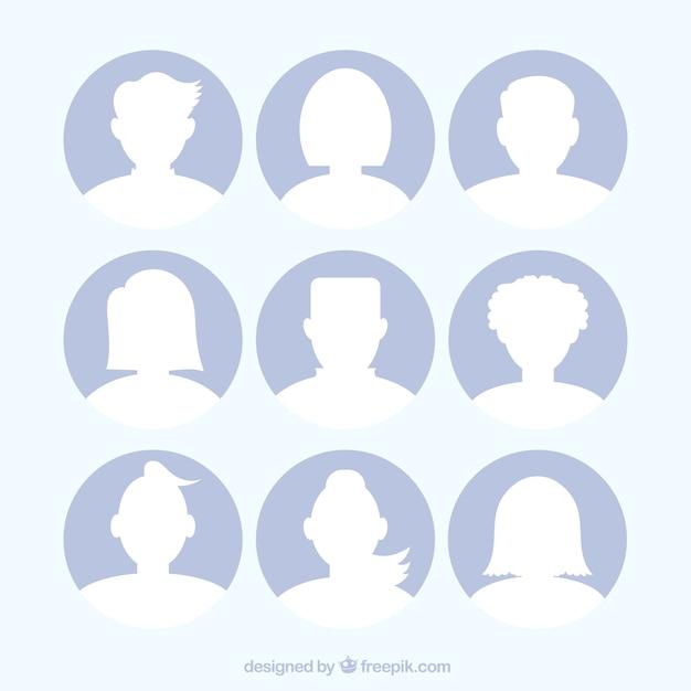 Set di sagome avatar Vettore gratuito