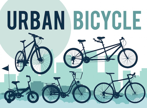 Set di sagome di biciclette sull'orizzonte della città. Vettore Premium