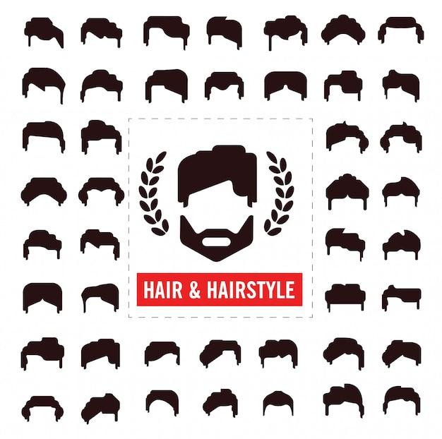 Set di sagome di capelli, acconciatura uomo e donna Vettore Premium