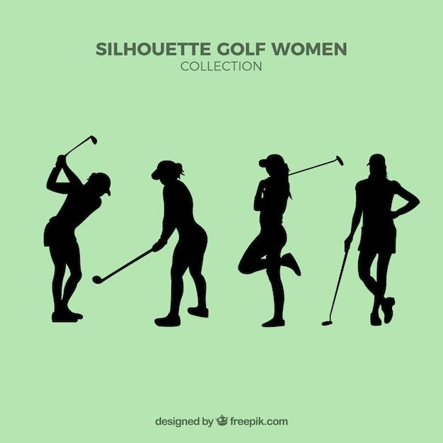 Set di sagome golf donne Vettore gratuito